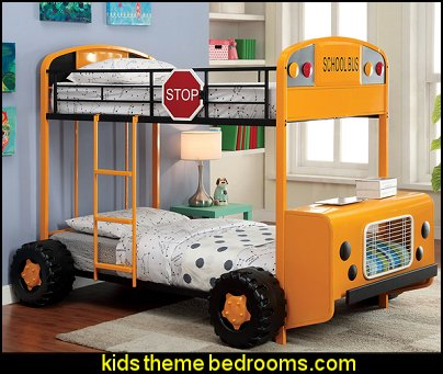 Bus bunk bed  theme beds - novelty furniture - woodworking bed plans - unique furniture - novelty furniture - themed furniture - themed beds - castle themed bed - castle loft beds - boat bed - Pirate Ship Bed - BATMOBILE BED - train bed - princess carriage beds - Doll house Beds