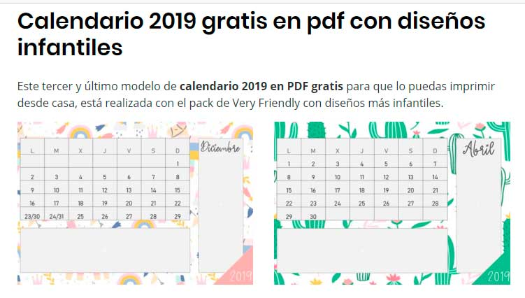 f6030a6a1e193 Calendarios 2019 gratis para imprimir ▷  PDF
