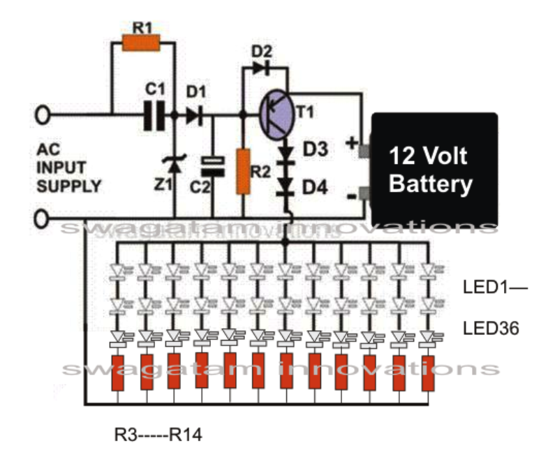 Electrical Engineering World: 36 Led Emergency Light Circuit
