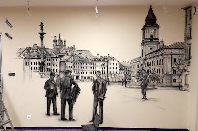 Mural, malowanie warszawskiej Starówki, Plac Zygmunta, obraz namalowany w salonie na ścianie, Aranżacja ściany poprzez malowanie,