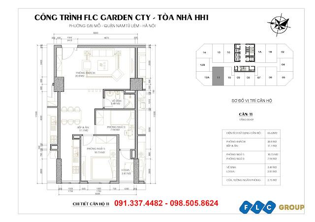 mặt bằng thiết kế căn hộ tòa HH1 Flc Garden City Đại Mỗ udic