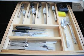 Organized flatware drawer with tiered divider :: OrganizingMadeFun.com