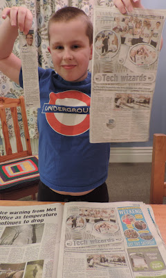 boy gets his name in the paper