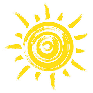 Graphic of yellow shining summer sun