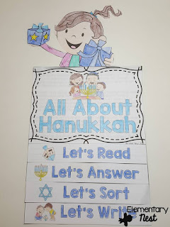 Hanukkah Flip Book- December Activities and primary resources plus three FREEBIES- fun ELA, math, and social studies activities for students during the month of December