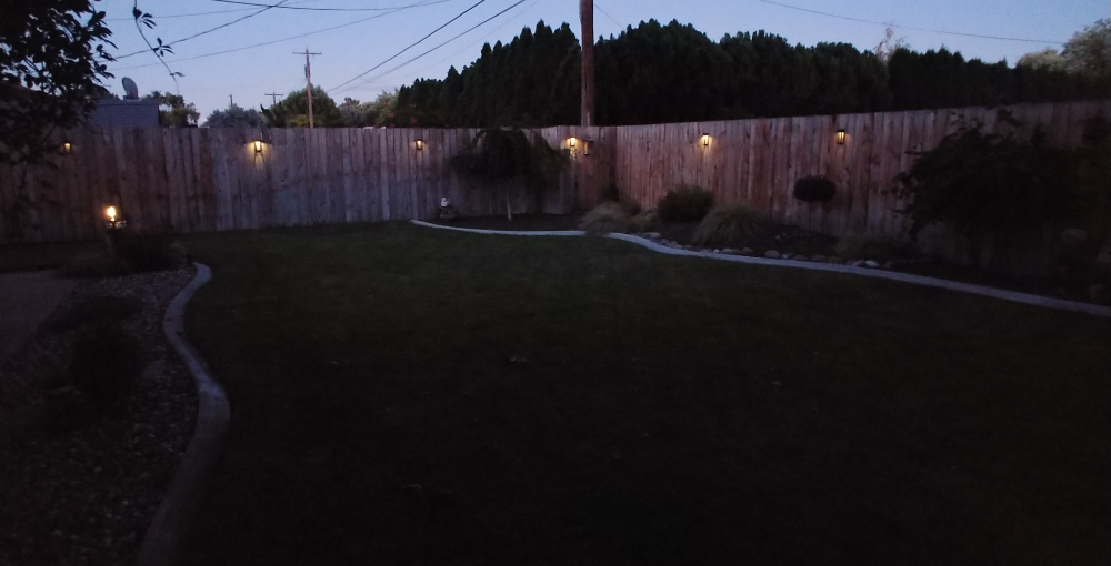 backyard with solar lights
