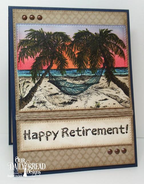 ODBD Happy Retirement, ODBD Rope Background, ODBD Custom Pierced Rectangles Dies, ODBD Custom Pierced Squares Dies, Card Designer Angie Crockett