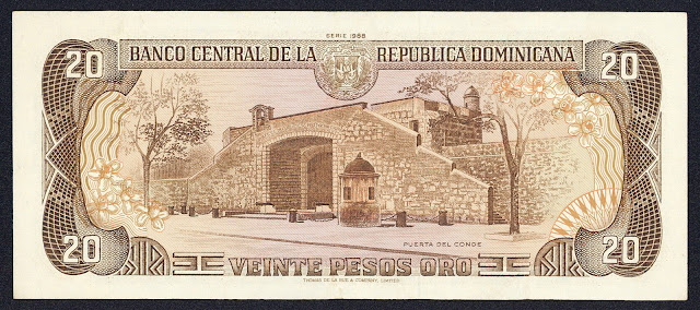 Dominican Republic money 20 Pesos Oro banknote 1988 La Puerta del Conde (The Count's Gate) in Santo Domingo