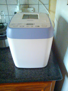 breadmaker from the thrift shop, with a purple stripe