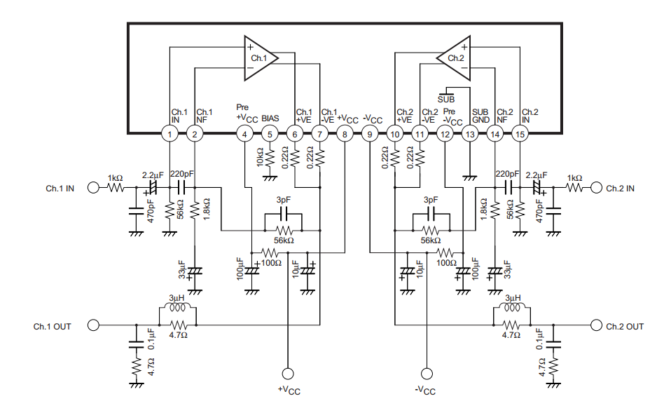 circuit diagram knowledge  2x40w two channel class ab audio power amplifier ic