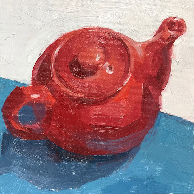 Daily Painting #25 'Little Red Teapot' 6×6″
