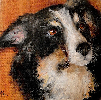 palette knife painting of black and white dog