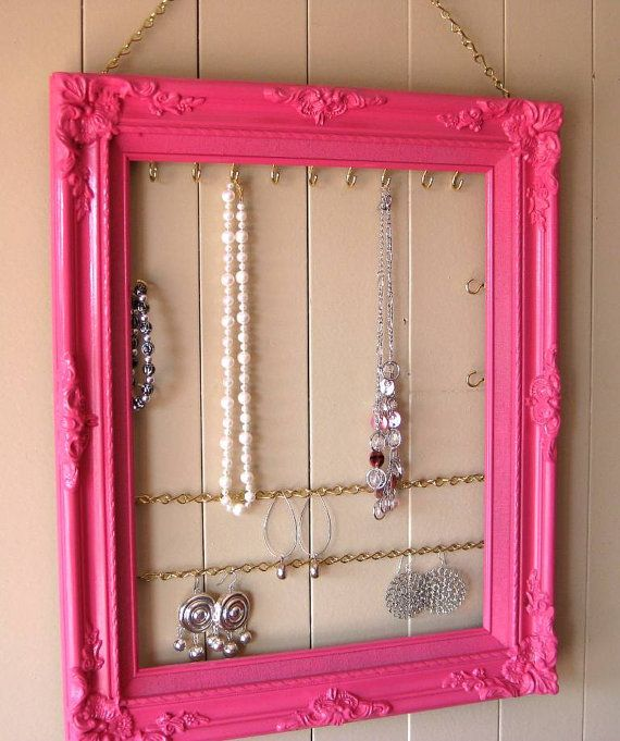 Moldura, corrente e ganchos Ideias para organizar bijuterias