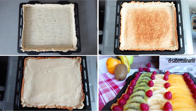 preparación del hojaldre para tarta de frutas