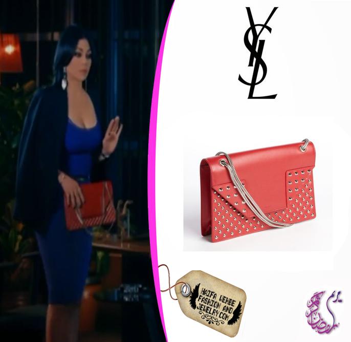 3c0138cd1507 Haifa Wehbe Carrying Saint Laurent Red leather studded medium  Betty   shoulder bag