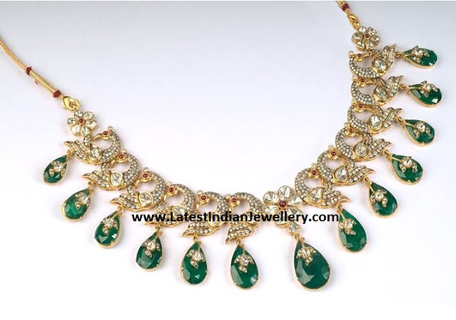 Emerald Drops Peacock Diamond Necklace