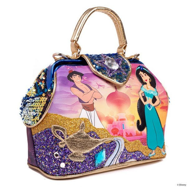 purple twilight scene bag with Jasmine and Aladdin character applique