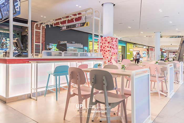 Central i city vanilla mille crepe kiosk overall view in pastel color seating area
