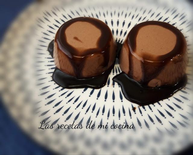 Flan de yogur con chocolate sin horno
