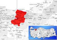 Arifiye ilçesinin nerede olduğunu gösteren harita.
