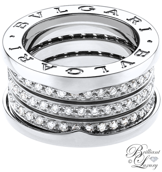 Brilliant Luxury ♦ Bvlgari B.Zero1 4-band 18 kt white gold ring with pavé diamonds
