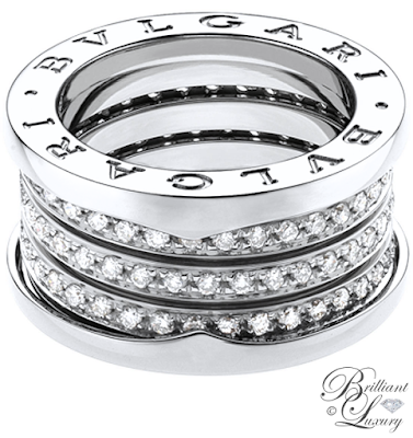 Bvlgari B.zero1 4-band 18k white gold ring with pavé diamonds #brilliantluxury