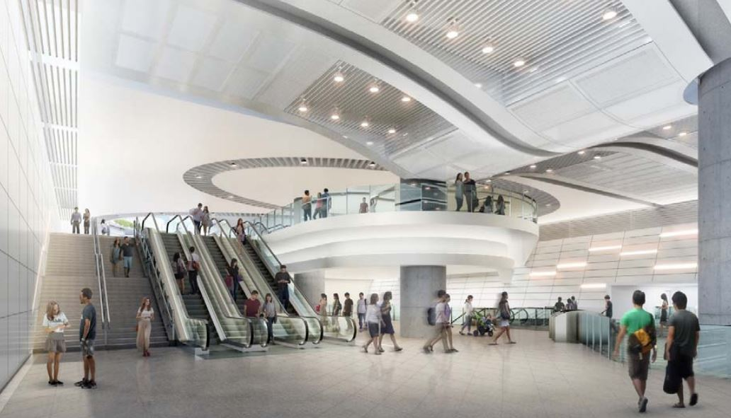 Artist impression of the concourse of the Punggol Coast Station