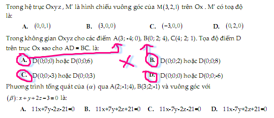 câu trắc nghiệm phương pháp tọa độ trong không gian Oxyz của Nhóm Toán