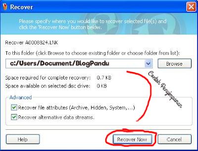 Proses Mengembalikan File