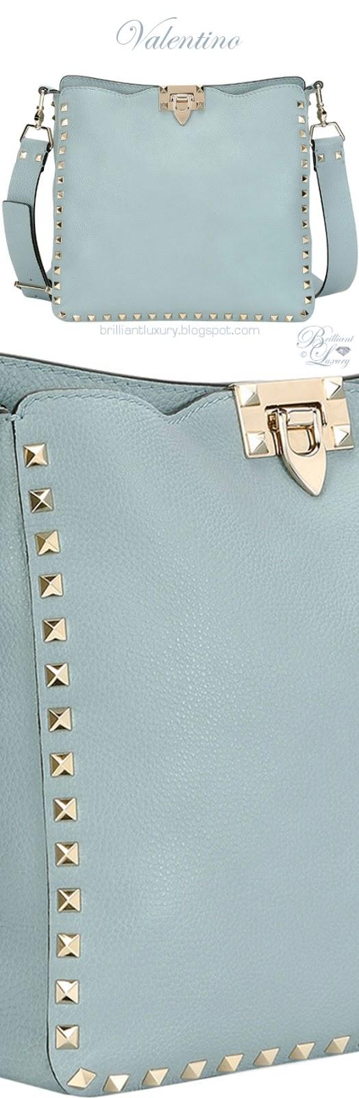 Brilliant Luxury ♦ Valentino Garavani Rockstud small blue leather hobo bag