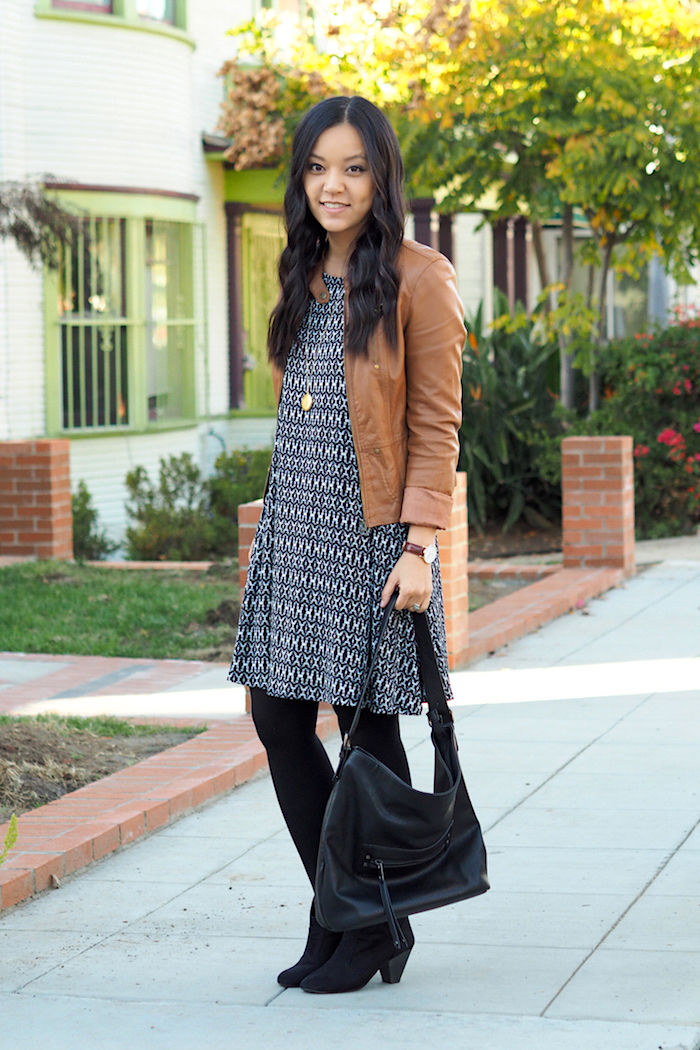 printed swing dress + tan faux leather jacket + black booties