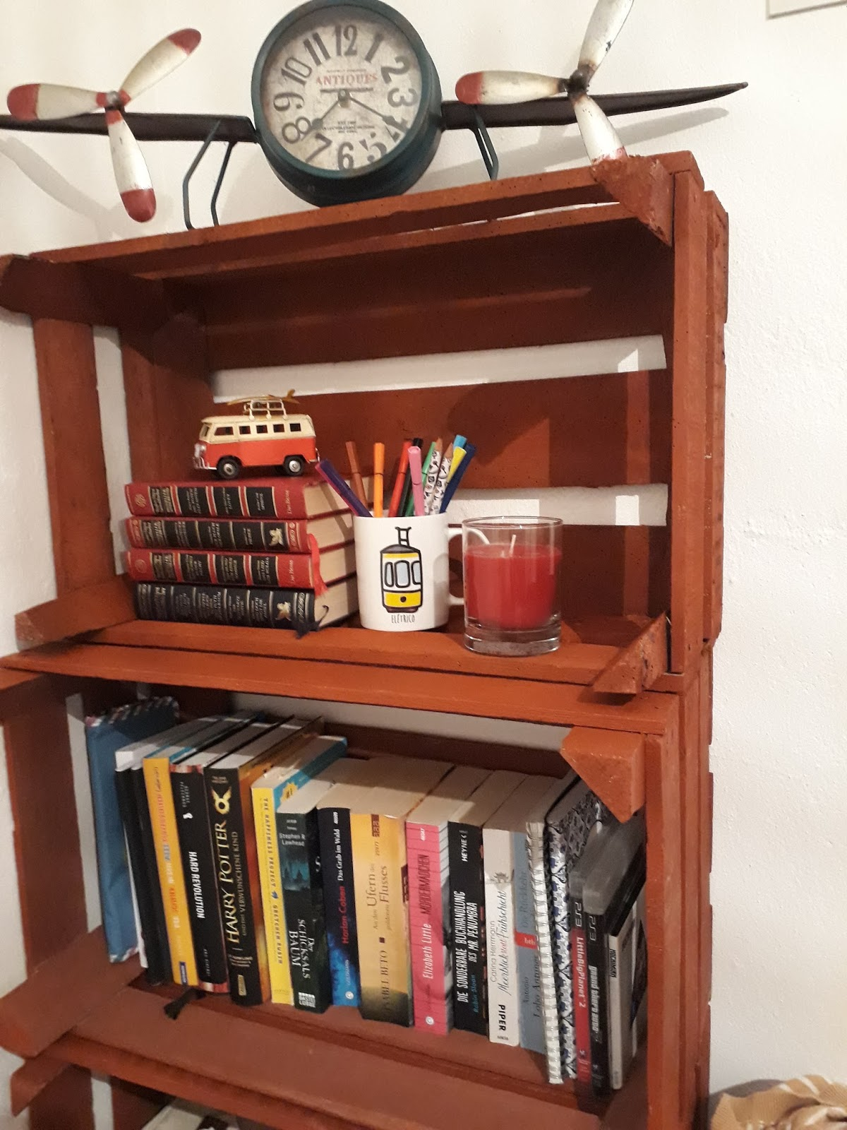 Bücherregal Rustikal Diy Bücherregal Aus Obstkisten