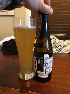 Pierre Foeder-Aged Golden Saison. Aged in 40 year-old Cognac barrels. Brewed with Indian Coriander, Grains of Paradise, barley, wheat, rye, oats. 15 different yeasts and bacteria.