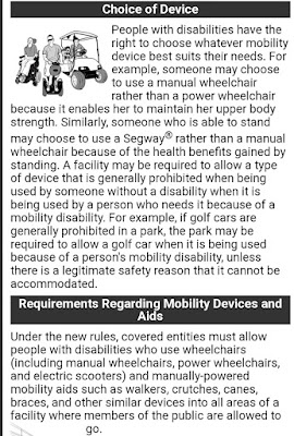 The section in the ADA guidelines that states that a disabled person can make their own choice of medical device.