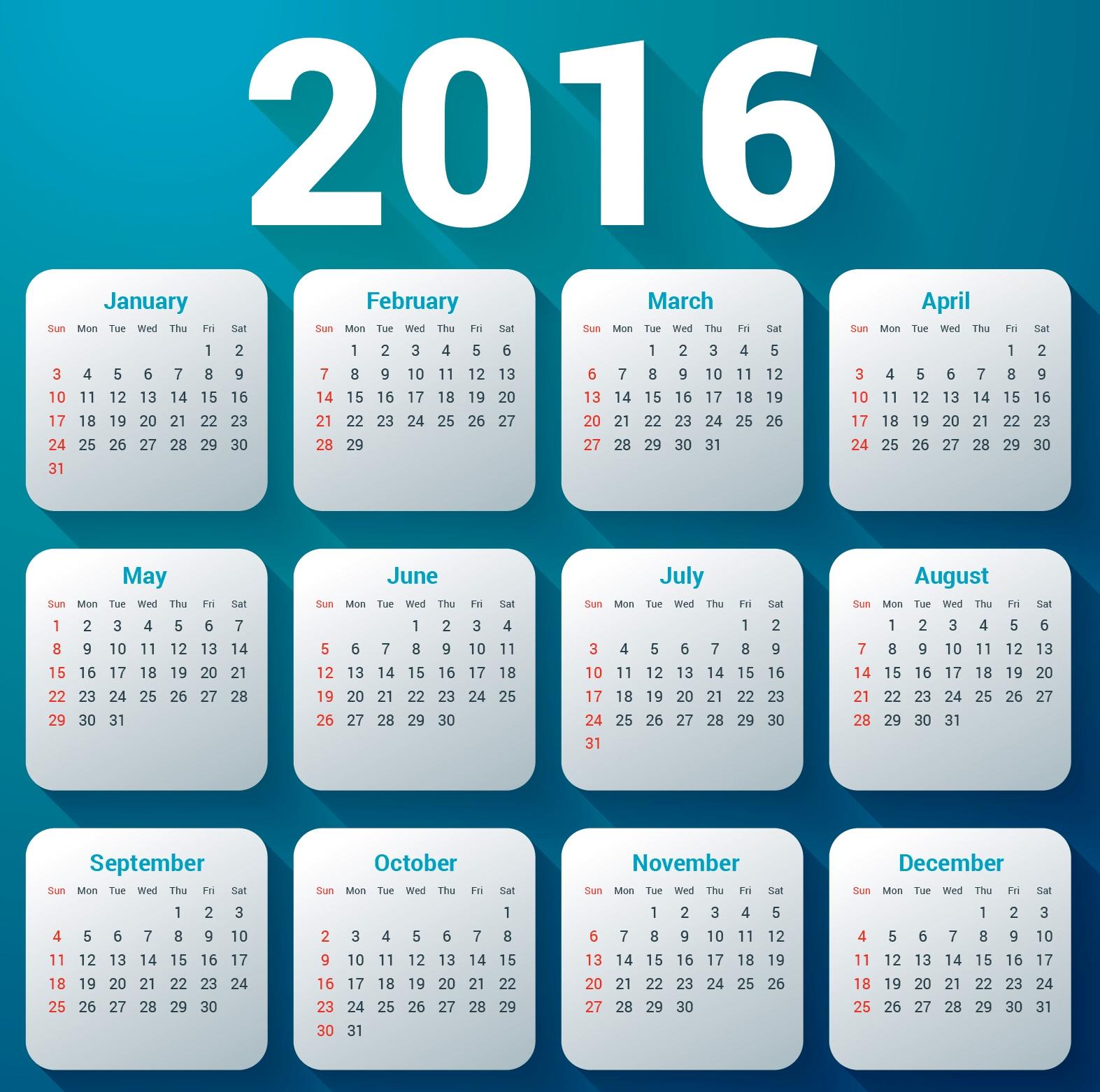 Calendario Con Giorni Festivi.Calendario Calendario 2016 Con Festivita Da Stampare