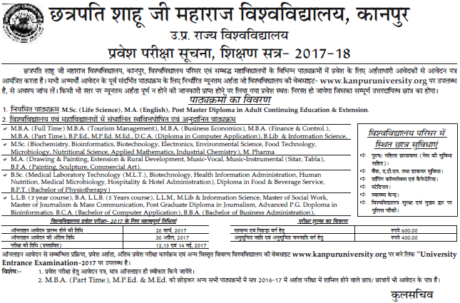 Kanpur University Admission 2017