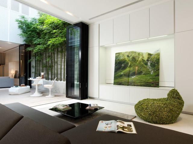 Desain interior ruko hitam putih, inspirasi ruang tamu