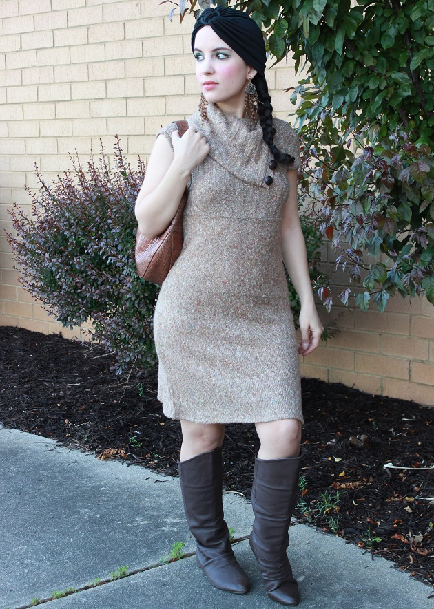 Beige Knit Dress