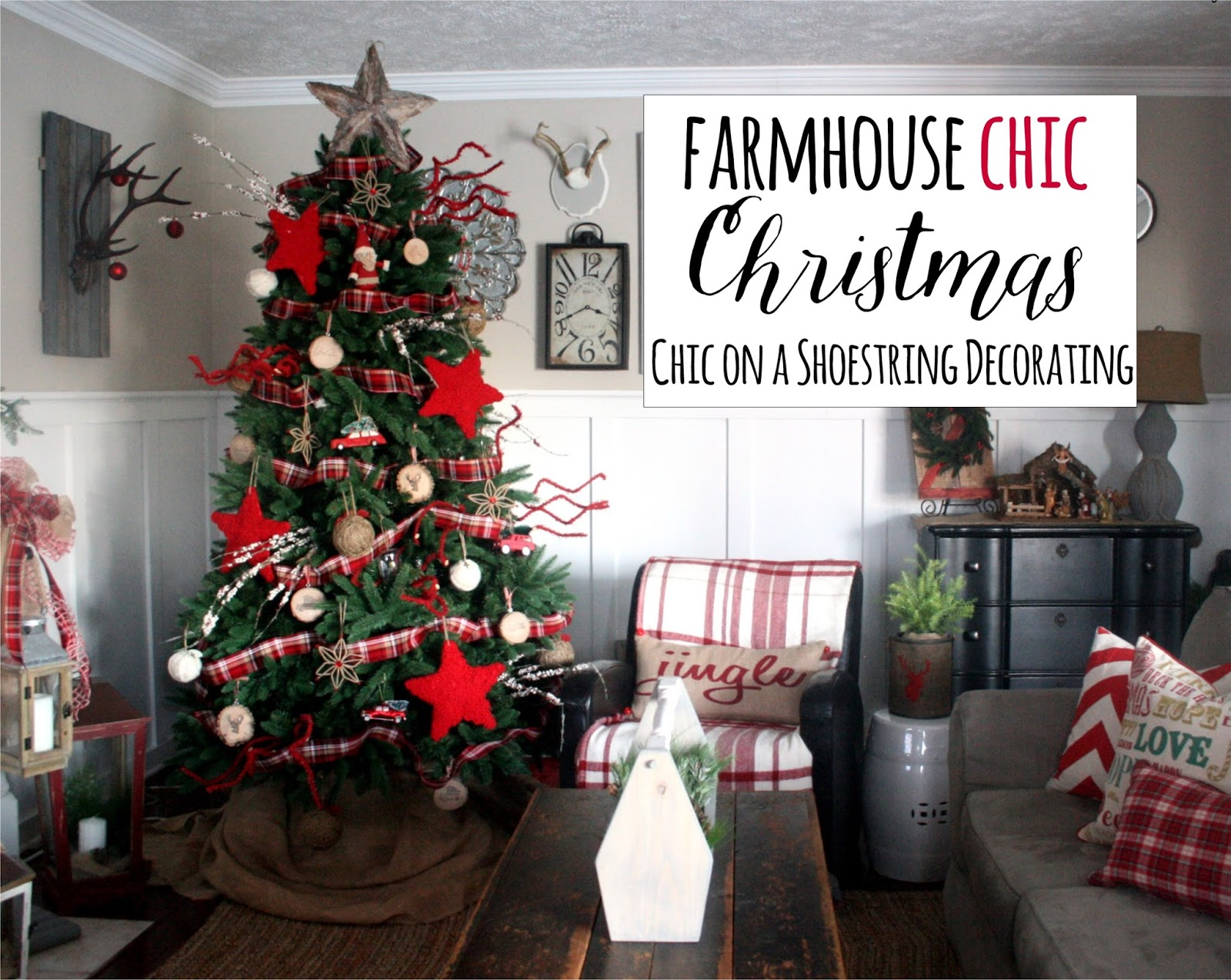 Chic on a Shoestring Decorating  Farmhouse Christmas Decor  Merry     Farmhouse Christmas Decor  Chic on a Shoestring Decorating Blog