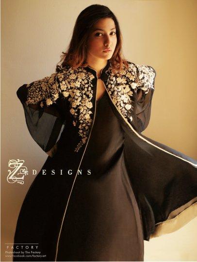 dc71d3da21 Beautiful Black Embroidered Semi Formal Pakistani Dress Pink Chiffon  Banarsi Party Dress by Z Designs