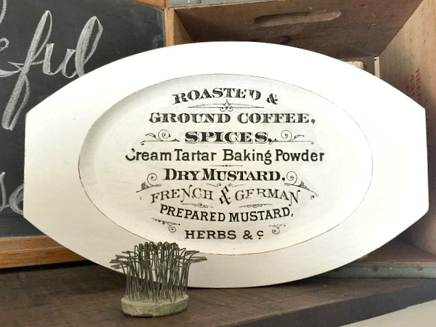 A Farmhouse Tray with a Coffee Image Transfer