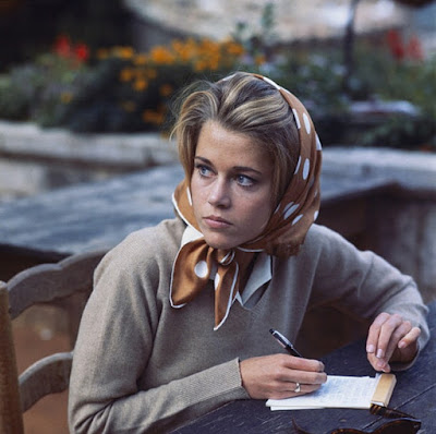 Jane Fonda in gold polka dot head scarf on Hello Lovely Studio