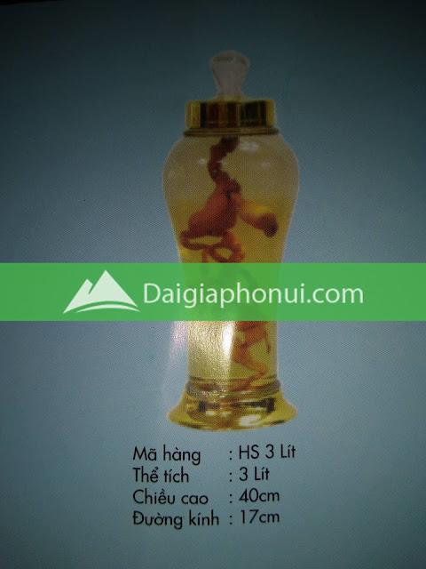 thông số bình ngâm rượu Phú Hoà mã số HS 3 LÍT