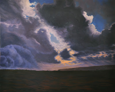 Hawaii, volcano, steam plume, clouds, storm, lava bed, awe, painting, original oil