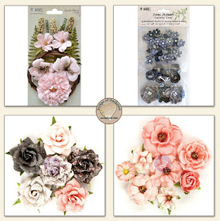 Scraps of Darkness scrapbook kits Aug 2017 Floral Add-On, featuring Prima Rose Quartz and 49 and Market flowers