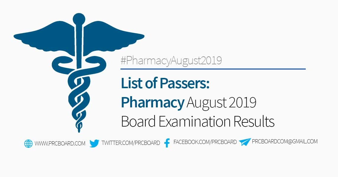 RESULTS: August 2019 Pharmacy Board Exam List of Passers - PRCBoard com
