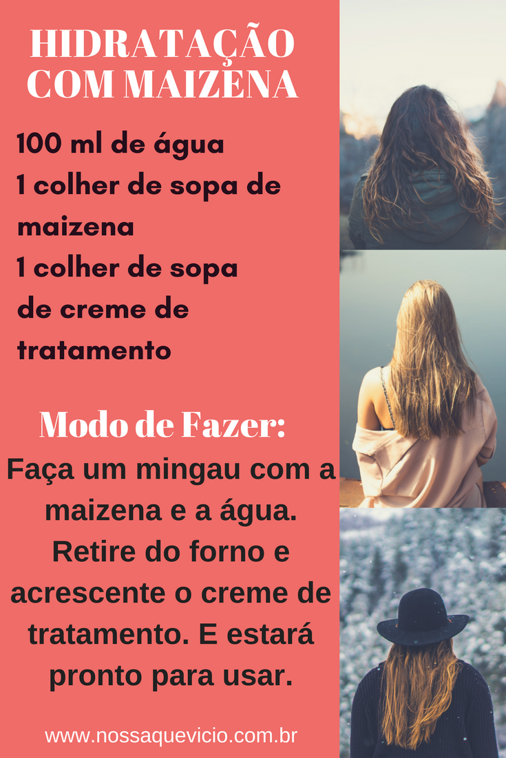 RECEITA DE HIDRATAÇÃO COM MAIZENA PARA TODO TIPO DE CABELO