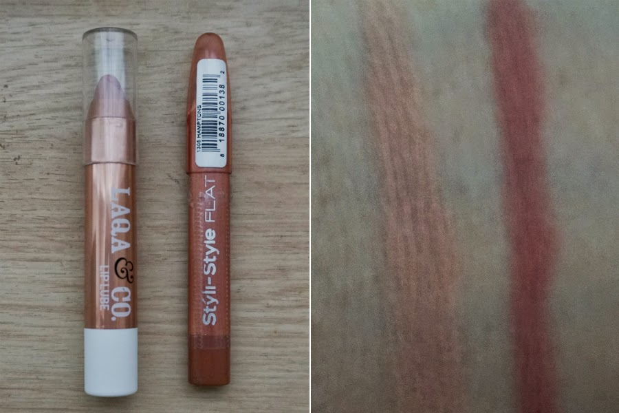 (L) The Boss Lady Lip Lube, (R) Styli Style Lip Liner in Hamptons