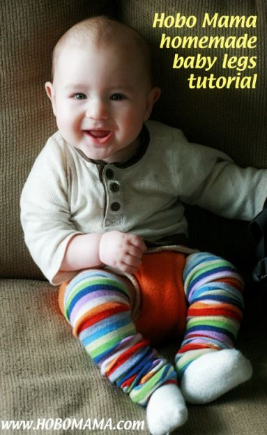 Love this easy tutorial for making your own DIY baby leg warmers from any fun adult knee socks! Great idea for a new parent or baby shower gift. = Hobo Mama