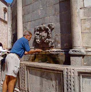 Wayne dunlap Drinking Onofrio Fountain Dubrovnik Croatia
